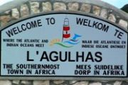 l´agulhas welcome sign south africa